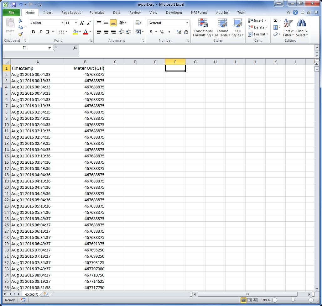 CSV File Imported into Microsoft Excel.