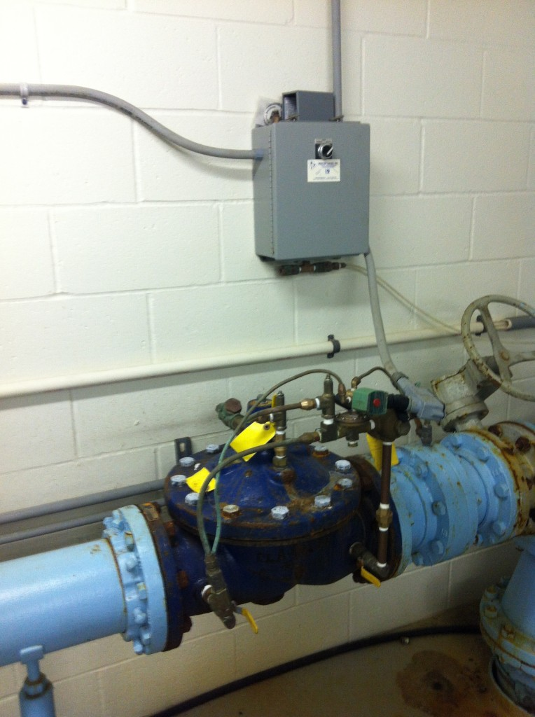 A Solenoid-Actuated Diaphragm Valve in a Pumping Station. This Valve Controls the Flow Into a GST (Ground Storage Tank).