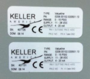 Pressure Transducers: Keller ValueLine, 0-15 PSIG. Signal Output: 4-20mA