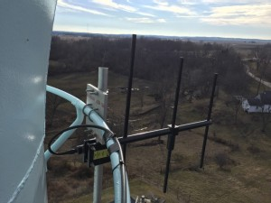 Rear View: VHF Yagi SCADA Antenna Mounted To Painter Rings Using the PTM-90 Mounting Kit.