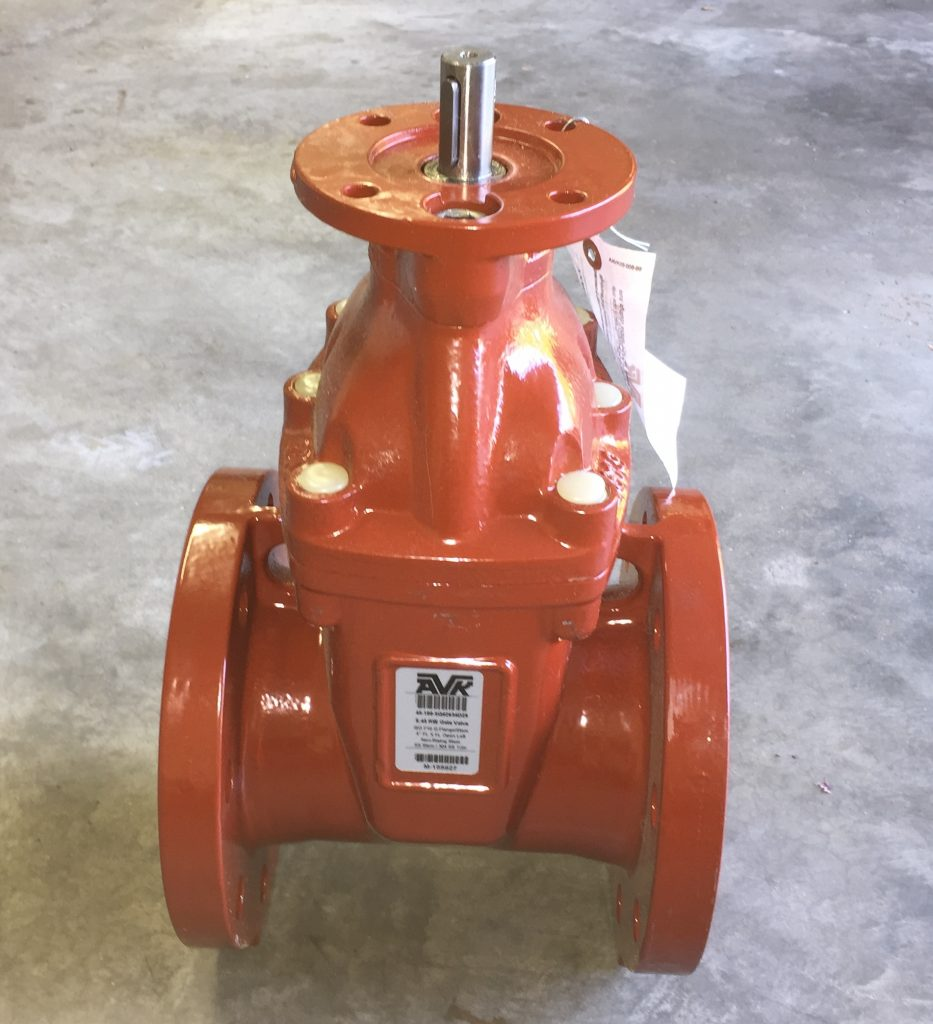 American AVK Gate Valve. 4 Inch Size. FA-10 Electric Actuator Mounting Interface + Stem.